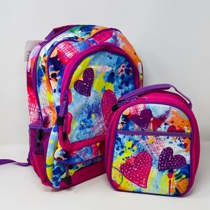 Brand New Heart Print Backpack Matching Lunch Box